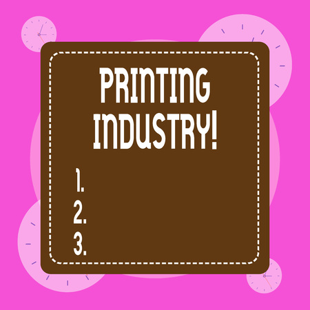 Conceptual hand writing showing Printing Industry. Concept meaning industry involved in production of printed matter