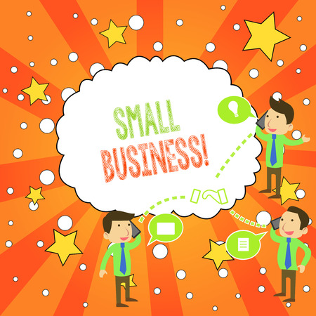 Writing note showing Small Business. Business concept for privately owned corporations that has less employees Stockfoto