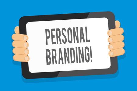 Word writing text Personal Branding. Business photo showcasing process of creating a recognizable professional name Color Tablet Smartphone with Blank Screen Handheld from the Back of Gadget