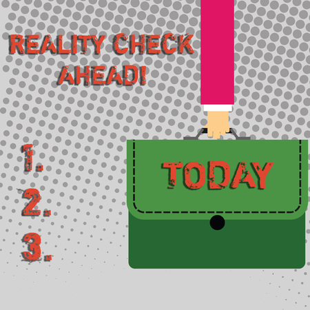 Handwriting text Reality Check Ahead. Conceptual photo makes them recognize truth about situations or difficulties Businessman Hand Carrying Colorful Briefcase Portfolio with Stitch Applique