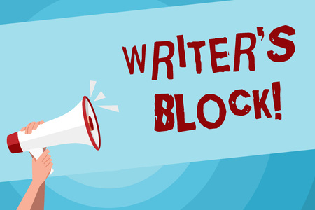 Text sign showing Writer S Is Block. Business photo text condition of being unable to make a piece of written work Human Hand Holding Tightly a Megaphone with Sound Icon and Blank Text Space