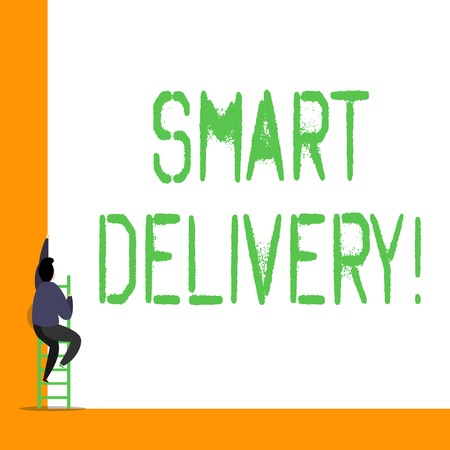 Word writing text Smart Delivery. Business photo showcasing Mobile solution for delivering and transporting goods faster