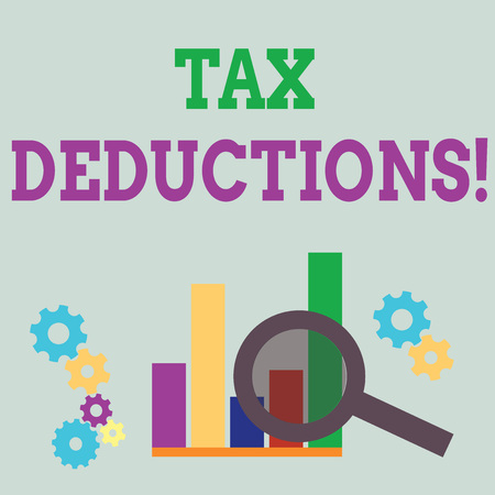 Word writing text Tax Deductions. Business photo showcasing amount or cost that can be subtracted from someone s is income Magnifying Glass Over Bar Column Chart beside Cog Wheel Gears for Analysis