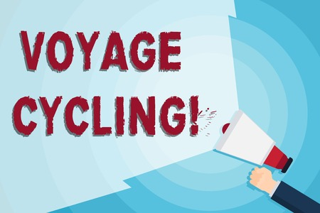 Word writing text Voyage Cycling. Business photo showcasing Use of bicycles for transport recreation and exercise Hand Holding Megaphone with Blank Wide Beam for Extending the Volume Range