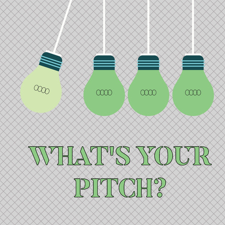 Handwriting text writing What S Is Your Pitch question. Conceptual photo asking about property of sound or music tone Color Incandescent Pendant Bulb Hanging with One Different Shade Lightbulb