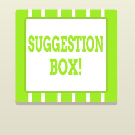 Escritura de texto Word Buzón de sugerencias. Contenedor de exhibición fotográfica de negocios que muestra puede dejar comentarios sobre algo Foto de archivo