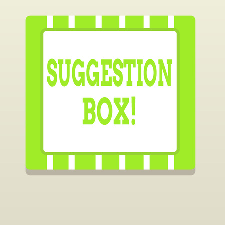 Word writing text Suggestion Box. Business photo showcasing container which showing can leave comments about something