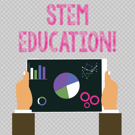 Conceptual hand writing showing Stem Education. Concept meaning develop to prepare primary and secondary students for college Hands Holding Tablet with Search Engine Optimization Screen
