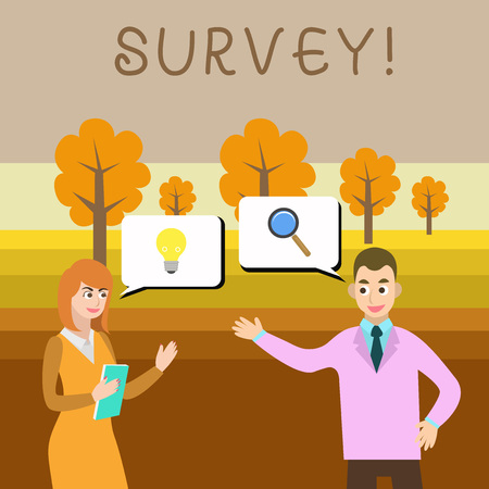 Writing note showing Survey. Business concept for research method used for collecting data from a predefined group Banco de Imagens