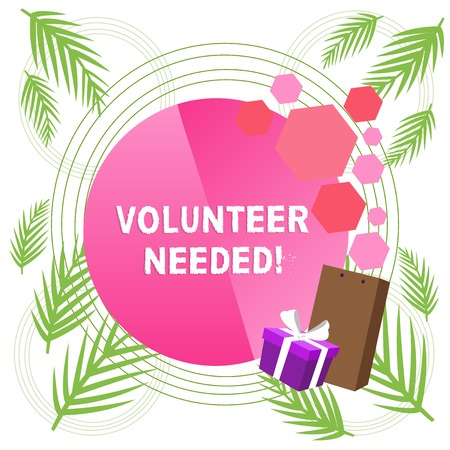 Handwriting text writing Volunteer Needed. Conceptual photo need work for organization without being paid