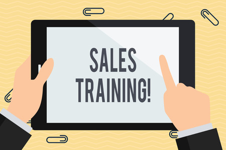 Conceptual hand writing showing Sales Training. Concept meaning train salesshowing the methods of great sales techniques Businessman Hand Holding and Pointing Colorful Tablet Screen Banco de Imagens