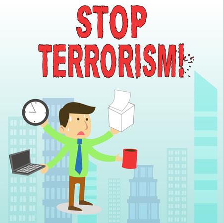La main conceptuel montrant arrêter le terrorisme. Sens Concept résoudre les problèmes en suspens liés à la violence