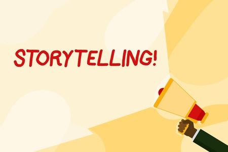 Text sign showing Storytelling. Business photo text activity writing stories for publishing them to public Hand Holding Megaphone with Blank Wide Beam for Extending the Volume Range