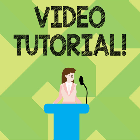 Writing note showing Video Tutorial. Business concept for method of transferring knowledge through audiovisual clips Businesswoman Behind Podium Rostrum Speaking on Microphone