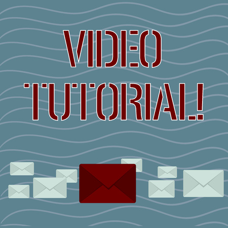 Word writing text Video Tutorial. Business photo showcasing method of transferring knowledge through audiovisual clips Pastel Color Closed Envelopes in Different Sizes with Big one in the Middle
