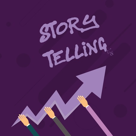 Word writing text Storytelling. Business photo showcasing activity writing stories for publishing them to public Three Hands Holding Colorful Zigzag Lightning Arrow Pointing and Going Up