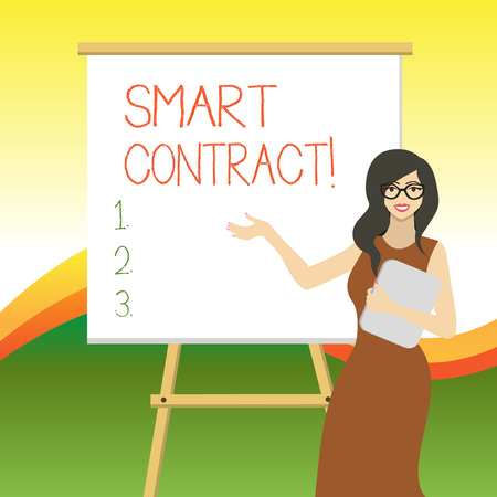 Writing note showing Smart Contract. Business concept for the computer protocol running on top of a block chain