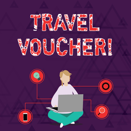 Conceptual hand writing showing Travel Voucher. Concept meaning Tradable transaction type worth a certain monetary value Woman Sitting with Crossed Legs on Floor Browsing the Laptop