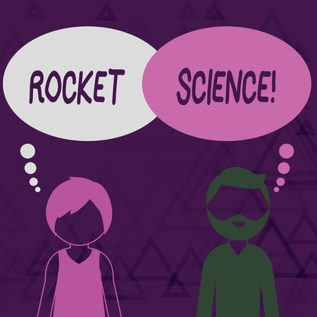 Writing note showing Rocket Science. Business concept for difficult activity that you need to be intelligent to do Bearded Man and Woman with the Blank Thought Bubble