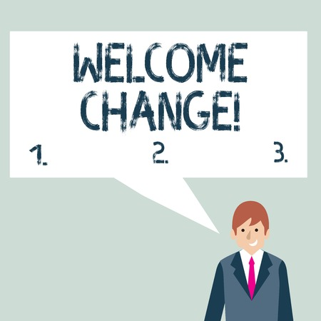 Writing note showing Welcome Change. Business concept for to accept with pleasure the occurrence Longawaited change Businessman Smiling and Talking Blank Color Speech Bubble Imagens