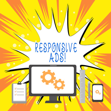 Text sign showing Responsive Ads. Business photo showcasing Automatically adjust form and format to fit existing ad space