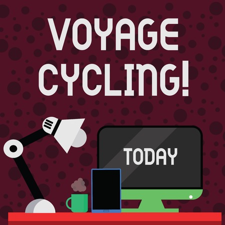 Conceptual hand writing showing Voyage Cycling. Concept meaning Use of bicycles for transport recreation and exercise Arrangement for Nightshift Worker Computer, Tablet and Lamp