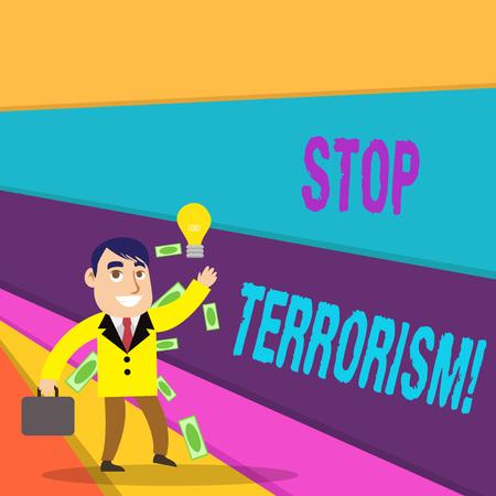 Texte de l'écriture écrit Stop au terrorisme. Photo conceptuelle Résoudre les problèmes en suspens liés à la violence Banque d'images