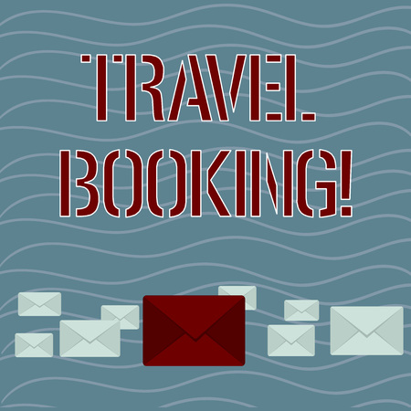 Word writing text Travel Booking. Business photo showcasing arrangement that you make when you book something for travel Pastel Color Closed Envelopes in Different Sizes with Big one in the Middle Zdjęcie Seryjne - 122420895