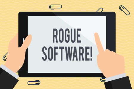 Conceptual hand writing showing Rogue Software. Concept meaning type of malware that poses as antimalware software Businessman Hand Holding and Pointing Colorful Tablet Screen