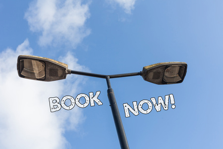 Text sign showing Book Now. Business photo text guaranteed to have place because you have already purchased it 版權商用圖片