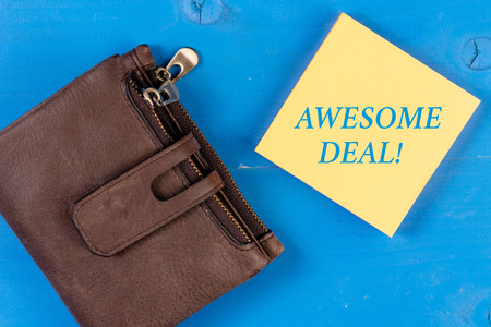 Writing note showing Awesome Deal. Business concept for A large but indefinite quantity as like as a good deal of money