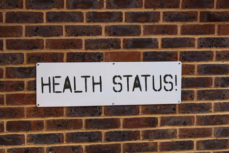 Word writing text Health Status. Business photo showcasing The state of health of a demonstrating or population assessed