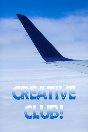 Text sign showing Creative Club. Business photo showcasing an organization that simulate interest in creative ideas