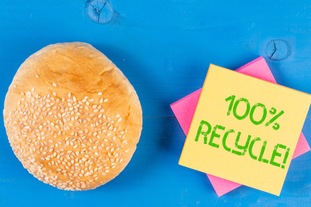 Word writing text 100 Percent Recycle. Business photo showcasing contains 100 percent postconsumer recovered material