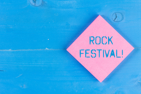 Word writing text Rock Festival. Business photo showcasing Largescale rock music concert featuring heavy metals genre