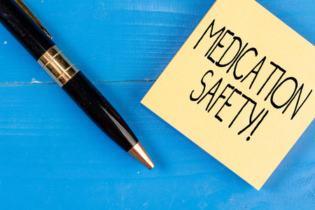 Conceptual hand writing showing Medication Safety. Concept meaning freedom from preventable harm with medication use Stock Photo