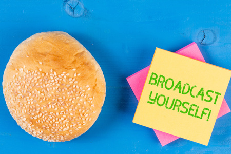 Word writing text Broadcast Yourself. Business photo showcasing broadcasting your viewing interests for all to see