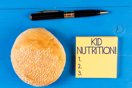 Handwriting text Kid Nutrition. Conceptual photo A healthy diet for children to help them grow and learn