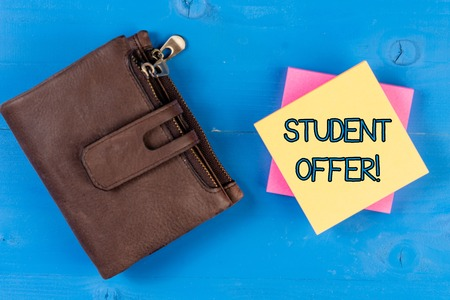 Text sign showing Student Offer. Business photo showcasing a reduction in the usual price of something for students