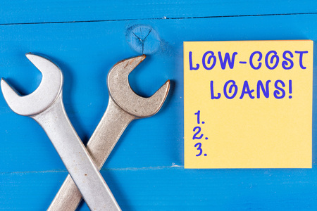Word writing text Low Cost Loans. Business photo showcasing loan that has an interest rate below twelve percent