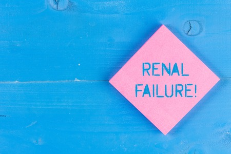 Word writing text Renal Failure. Business photo showcasing medical condition in which the kidneys no longer function