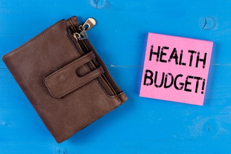Conceptual hand writing showing Health Budget. Concept meaning amount of money to support your health and wellbeing needs 免版税图像 - 122515385