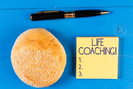 Handwriting text Life Coaching. Conceptual photo a demonstrating employed to help showing attain their goals in life Stock Photo