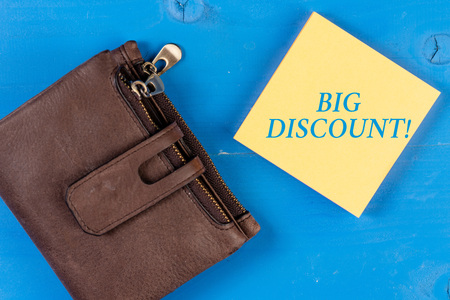 Writing note showing Big Discount. Business concept for a large or greater than usual reduction in price Special offer