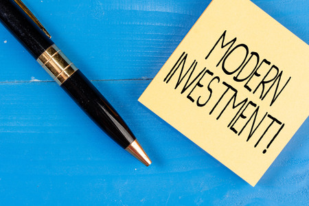 Conceptual hand writing showing Modern Investment. Concept meaning powers the investment concept of diversification