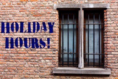 Text sign showing Holiday Hours. Business photo text Overtime work on for employees under flexible work schedules