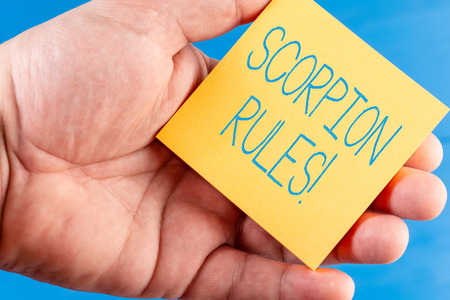 Handwriting text Scorpion Rules. Conceptual photo Dystopian young adult novel by Erin Bow Prisoners of peace Imagens