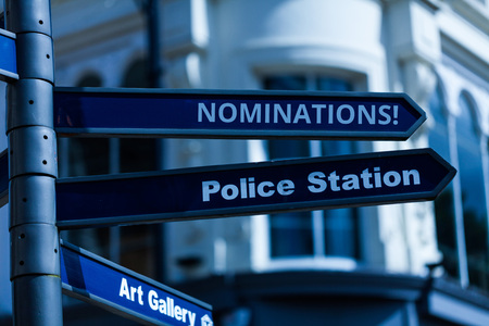 Conceptual hand writing showing Nominations. Concept meaning action of nominating or state being nominated for prize Stock Photo