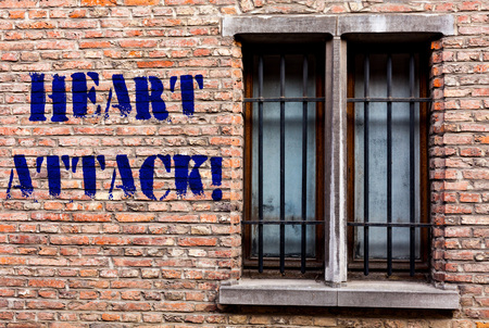 Text sign showing Heart Attack. Business photo text sudden occurrence of coronary thrombosis resulting in death Banco de Imagens