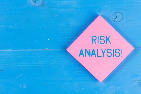 Word writing text Risk Analysis. Business photo showcasing review of the risks associated with a particular event 免版税图像